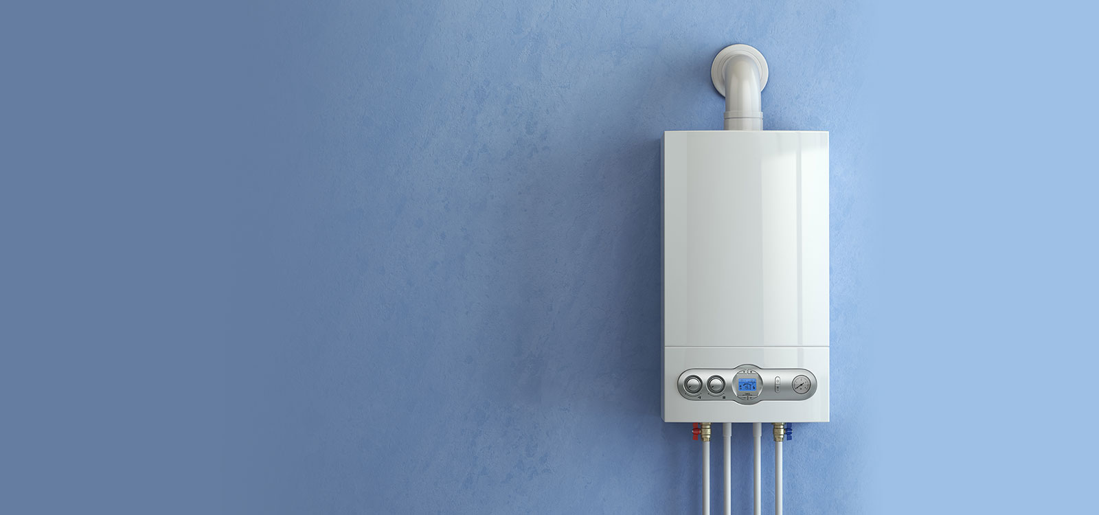 new boiler on blue wall